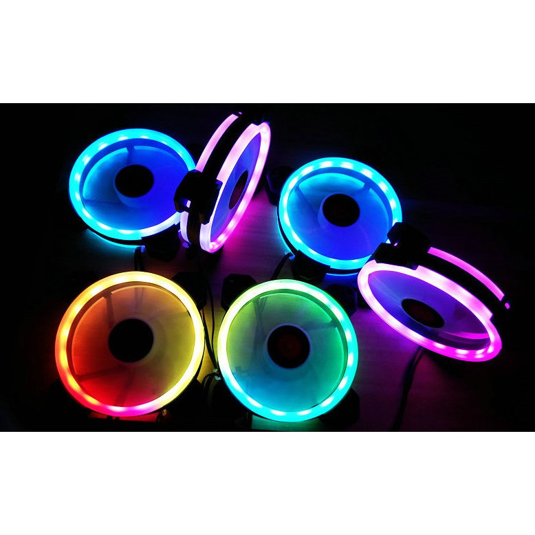 Combo 3 Quạt Tản Nhiệt, Fan Case Coolmoon V2 Led RGB Dual Ring - 16 Triệu màu, 366 Hiệu Ứng