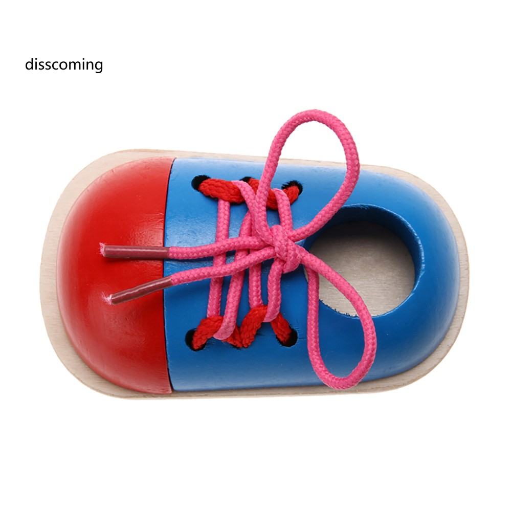 1Pc Kids Toddler Educational Wooden Lacing Shoe Toy Early Teaching Aids Puzzle