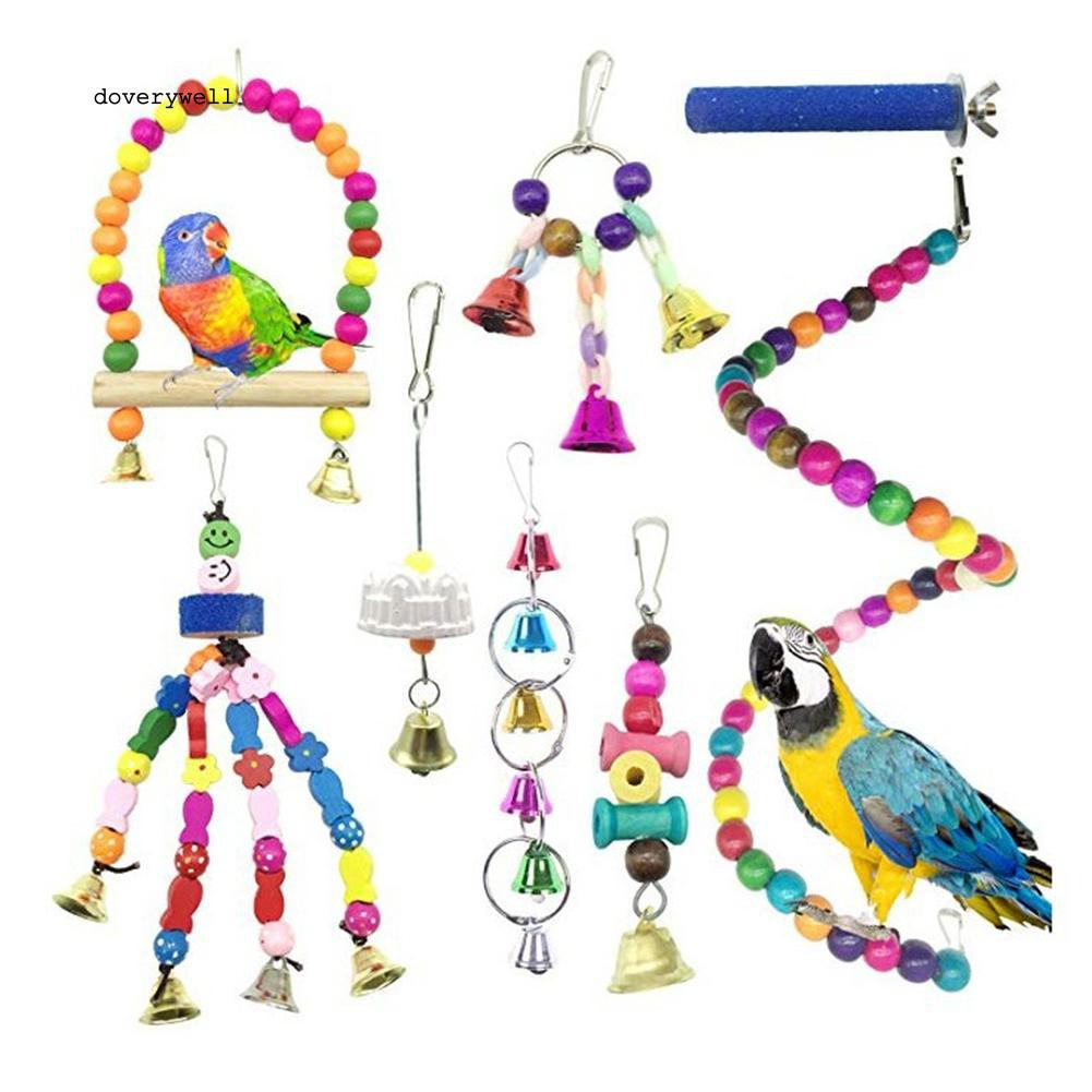 Set 8 đồ chơi treo lồng thiết kế độc đáo cho nuôi chim/vẹt
