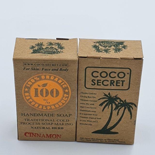Xà Phòng Tinh Dầu Dừa Quế Coco-Secret Dưỡng ẩm và tẩy tế bào chết cho da 110g [Combo 2 bánh]