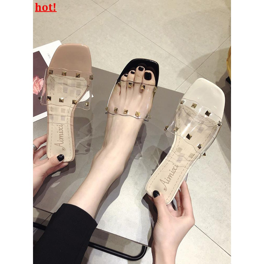 Slippers female summer wear 2019 new Korean version of a word drag transparent r