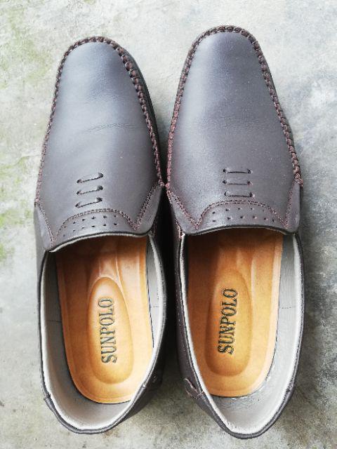 Đánh giá sản phẩm Giày Mọi Nam Da Bò SUNPOLO Đen Nâu - SU2098DN của hoangluongvlsp