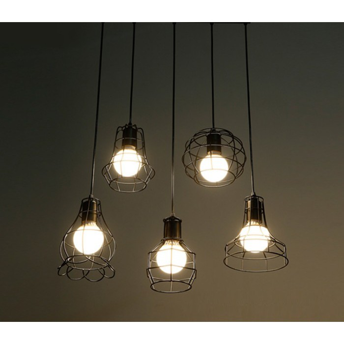 combo 5 đèn thả khung sắt nghệ thuật, đèn thả bàn ăn TS5B