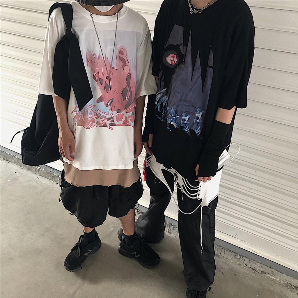 การ์ตูนย้อนยุคอะนิเมะยามาโมโตะมืดการ์ตูนอะนิเมะไฟเงาตัวละครพิมพ์เสื้อยืดแขนสั้น