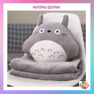 (HQ)Bộ Chăn Gối Gấu Bông Totoro tròn. Chăn gối văn phòng 3in1