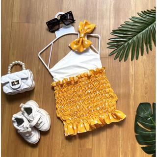 Váy Bé Gái Chấm Bi Phối Áo Lệch Vai Nơ Đồng Điệu [⚡ẢNH THẬT⚡] Hàng Thiết Kế Cho Bé Gái 1 Đến 8 Tuổi Minmi Baby Kid SB003