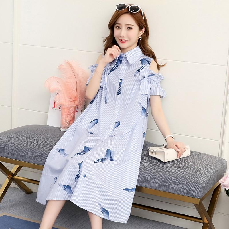 Đầm bầu , váy bầu dáng chữ a hiện đại hở vai phong cách HÀN QUỐC