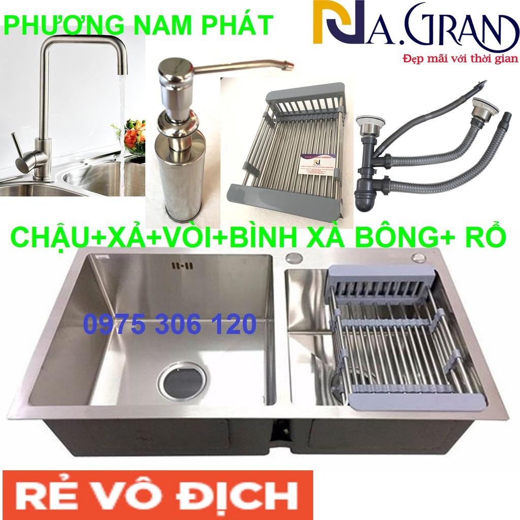 Combo Chậu Rửa Chén Bát INOX SUS 304 N7 8245 NA.GRAND và Vòi Rửa Chén Nóng Lạnh và Bình Xà Bông và Xả Chậu và Rổ