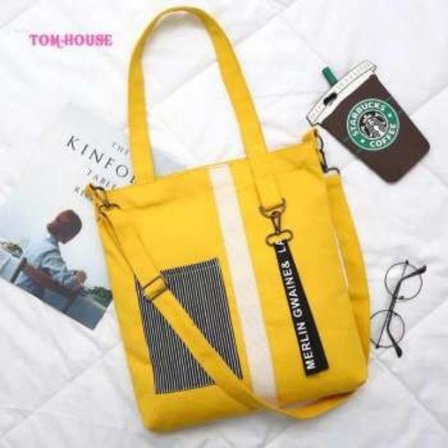 Túi Vải Tote Nữ Tote Vải Bố Living Bag Đeo Chéo ,Tote Vừa A4