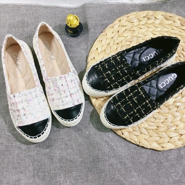 [Shopee trợ giá] Giày slipon nữ Dạ kim tuyến đế hột siêu dẻo đi êm chân