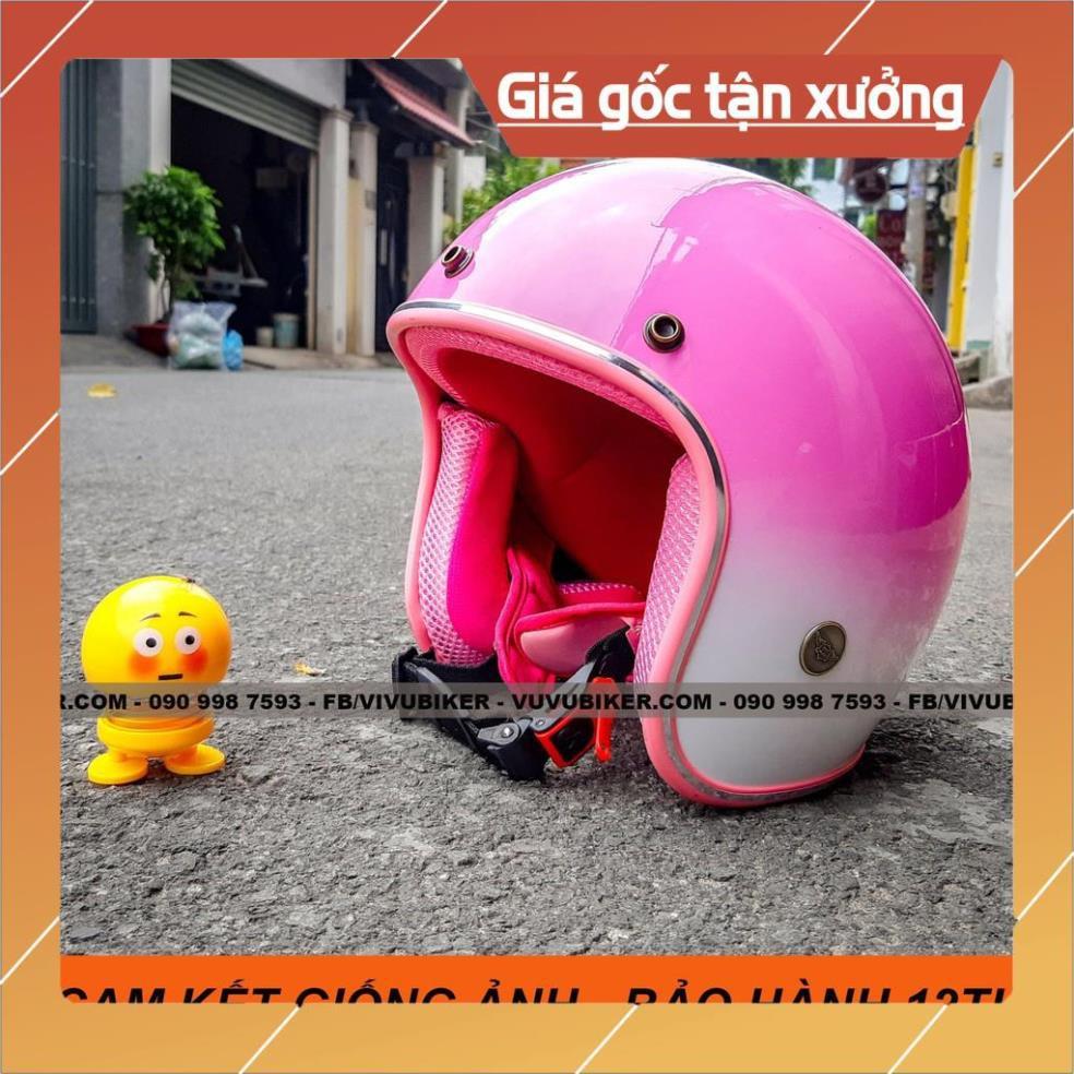 [Giống ảnh] [CAM KẾT ẢNH THẬT] Mũ nón bảo hiểm 3/4 hồng pha trắng lót hồng