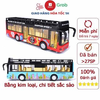 Đồ chơi mô hình xe bus 2 tầng mui trần có nhạc và đèn chạy cót bằng kim loại bền bỉ, xe thăm quan du lịch thành phố thumbnail