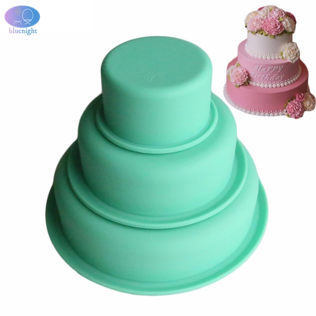 3 Layers Round High Temperature Resistance Silicone Mold for Cake Pizza Baking