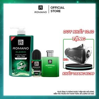 Combo Romano: Sữa tắm sạch khuẩn Classic 650G + Nước hoa Classic 50ml + Lăn khử mùi Classic 50ml