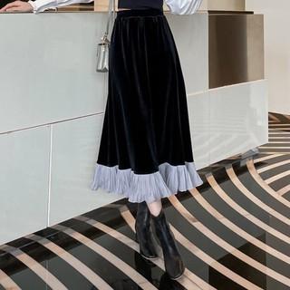 Chân váy nhung dài vintage