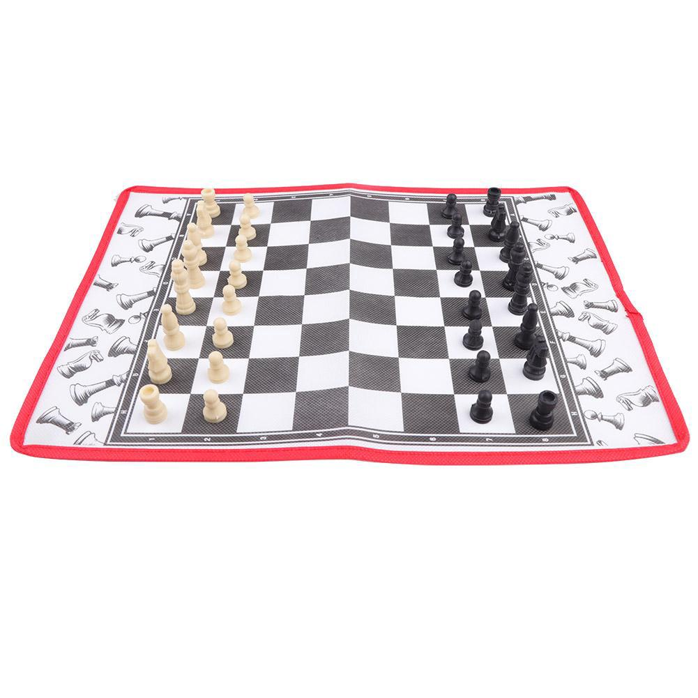 Children 1 Portable Chess Toy Games in Soft Draughts Outdoor Cloth 2 Travel Chessboard