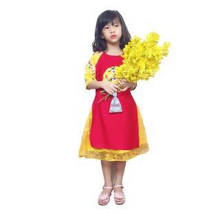Bộ Áo Dài Cách Tân kèm Váy Ren bé gái BabyBean