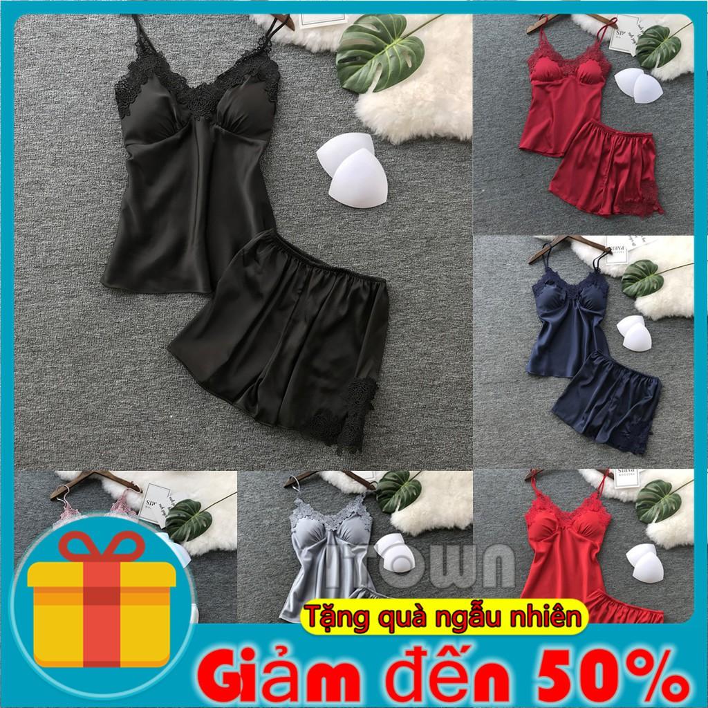 Set đồ ngủ bằng lụa satin phối ren phong cách quyến rũ dành cho nữ