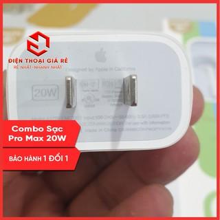 Combo củ sạc nhanh Pro Max 20W (Cho iPhone 20W, 22.5W: iPhone 11 Pro Max, iPhone 12 Pro Max) [giá rẻ, BH 1 đổi 1]