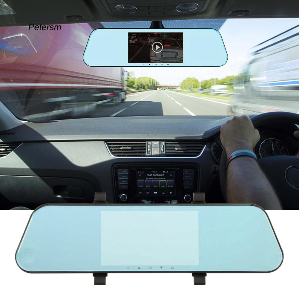PST_Dual Dash Cam Rearview Mirror Backup Camera Touch Screen Car Park Recorder