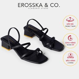 [Mã FASHION10KP giảm 10K đơn 50K] Giày cao gót nữ Erosska kiểu dáng xỏ ngón dây mãnh thời trang cao 5cm màu đen _ EB024 thumbnail