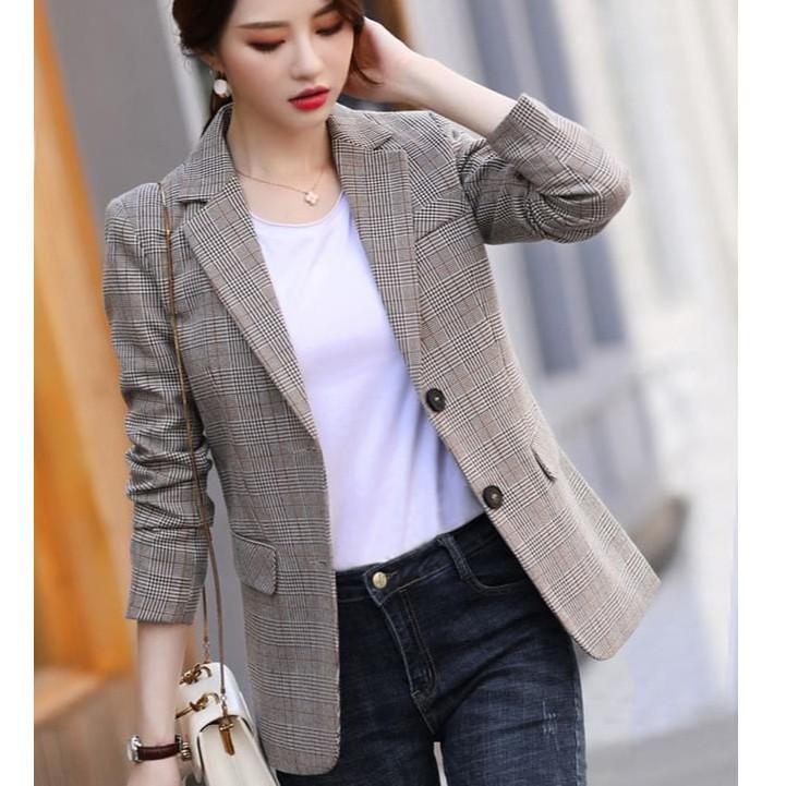 Áo blazer nữ kẻ caro chất vải cao