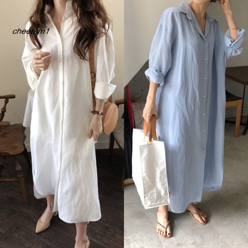 CHE♥Solid Color Women Button Down Long Sleeve Cotton Linen Loose Shirt Maxi Dress