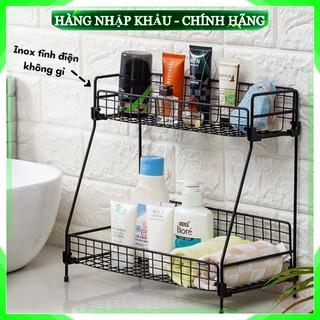 [Sản Phẩm Loại 1] Kệ để đồ nhà bếp nhà tắm 2 tầng bằng sắt sơn tĩnh điện không gỉ cao cấp