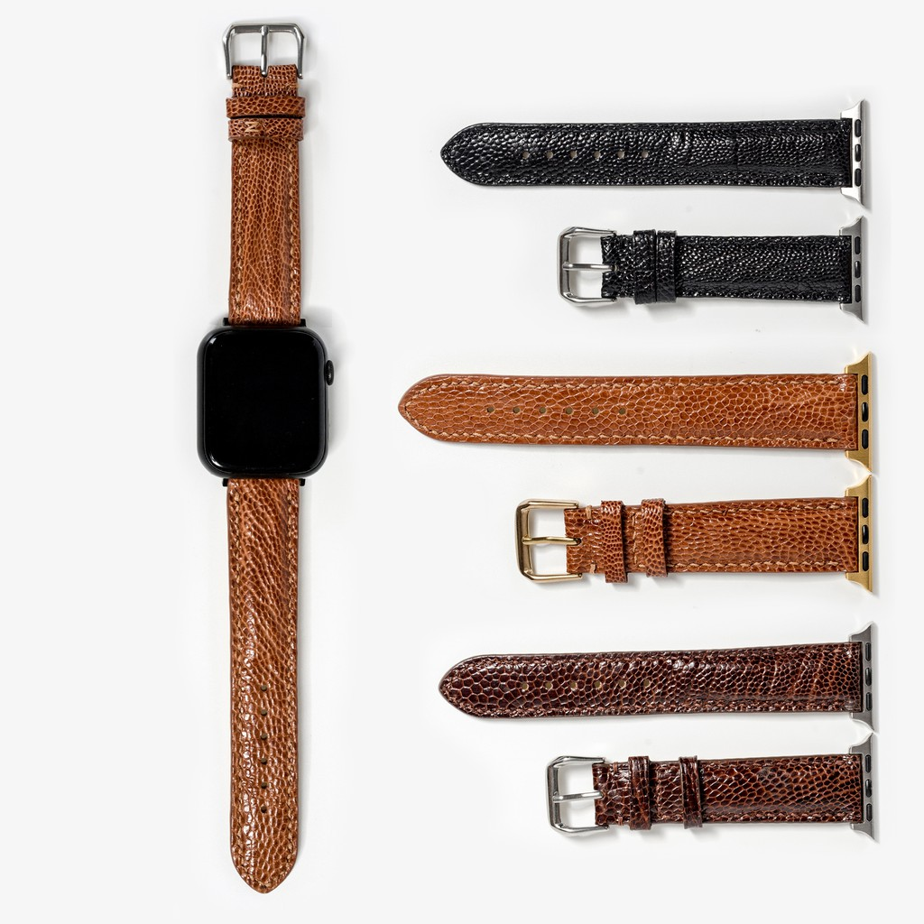 Dây da apple watch da đà điểu-khâu tay thủ công D109- dây apple watch series 3 series 4 series 5-Bụi leather
