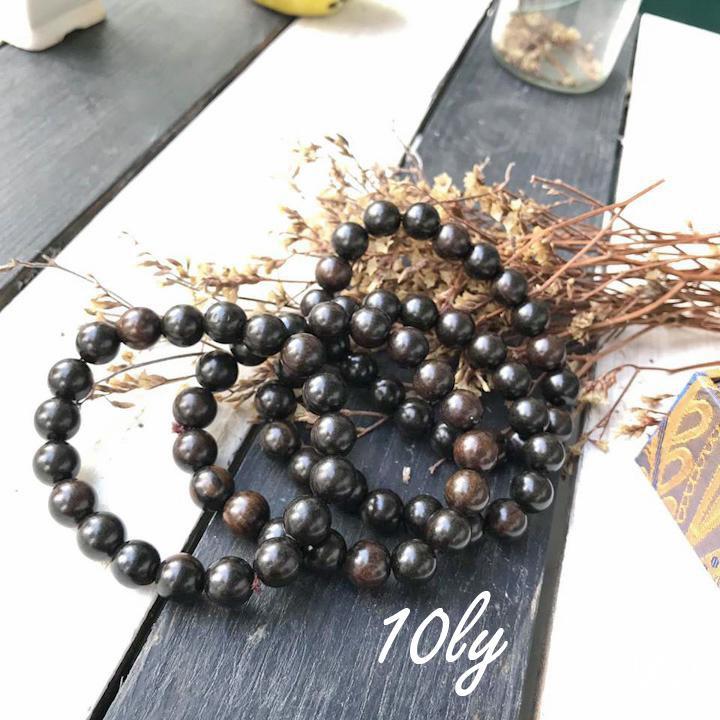 Vòng phong thủy gỗ mun sừng 10 ly - vòng tay gỗ phong thủy mệnh Mộc - thủy