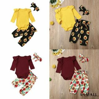 ➤GML3Pcs Newborn Baby Girl Fall Winter Outfits Ruffle Knitted Romper Top + Floral Halen Pants + Headband Clothes