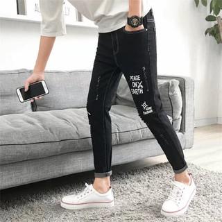 Quần Jeans Dài Rách Gối Thời Trang Hàn Quốc 2020 Cho Nam