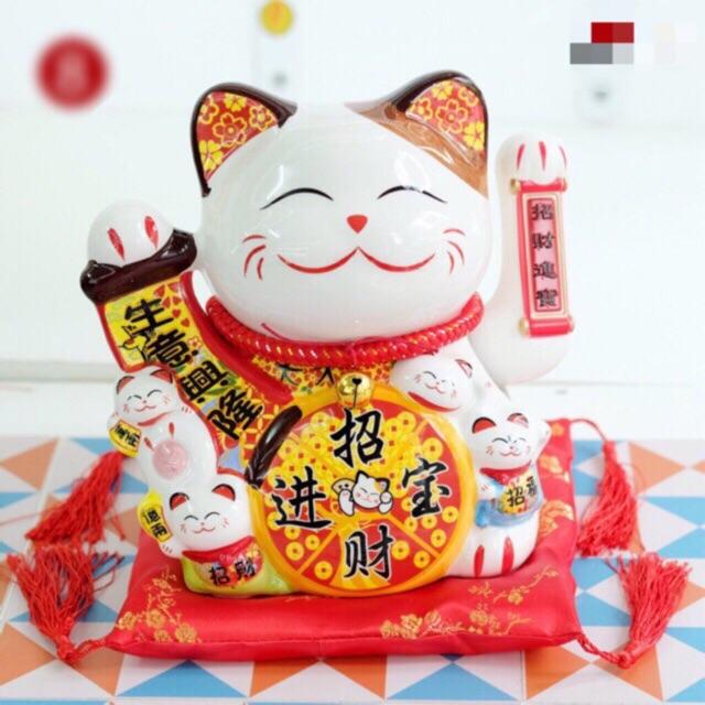 Thumbnail of Mèo thần tài, mèo may mắn 20cm (8 mẫu) Thiên khách vạn lai vẫy tay kèm đệm và sạc