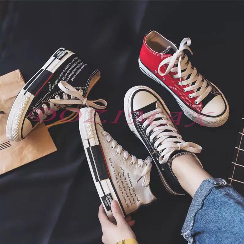 ⚡️ Sale 3 ngày ⚡️ Fs 50k - giày thể thao nam nữ 2 vạt cao cổ cao cấp- giày sneaker nam nữ - chất vải thô