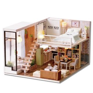 Mô hình biệt thự Cute Room – nhà búp bê WAITING FOR THE TIME dễ thương (có cót nhạc + mica che bụi)