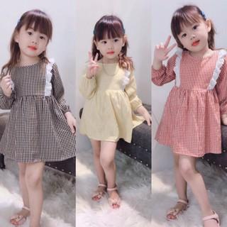 Váy kẻ viền nơ hàng thu đông cho bé gái cực duyên dáng, váy đầm bé gái