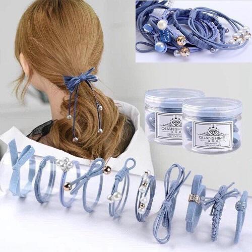 Set 12 dây buộc tóc mềm Hàn Quốc kèm hộp ( Loại đẹp ...