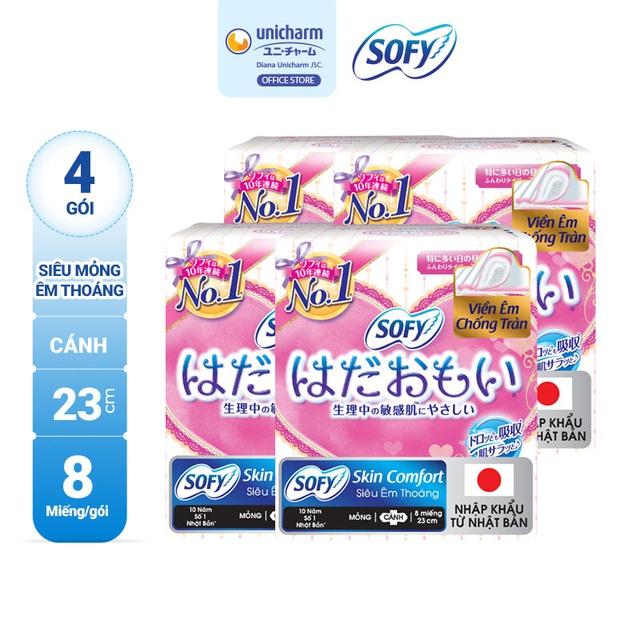 Bộ 4 gói Băng vệ sinh siêu mềm mại Sofy Skin Comfort 23cm có cánh gói 08 miếng (Nhập khẩu)