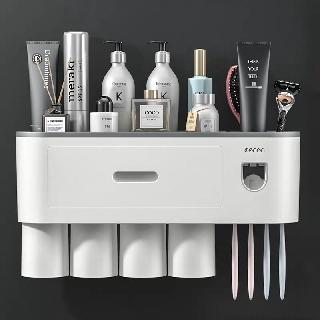 Giá kệ để đồ phòng tắm treo bàn chải đánh răng kèm 2/3/4 cốc cao cấp, không cần khoan tường OENON 9373