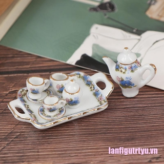 {xasc}8Pcs 1:12 Dollhouse Miniature Dining Ware Porcelain Tea Set Dish Cup Plate