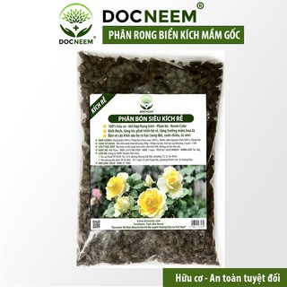 Phân bón rong biển siêu kích rễ mầm (Túi 1kg), kết hợp Neemcake, Phân bò ủ hoai mục chuyên cho Hoa hồng, hiệu Docneem