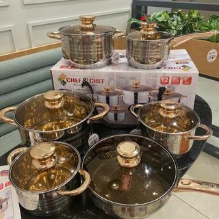 🌟Bảo hành 12 tháng🌟 Bộ nồi inox 6 món bếp từ, 5 đáy, chống dính công nghệ Đức - CHEF&CHEF [Nội địa Trung]