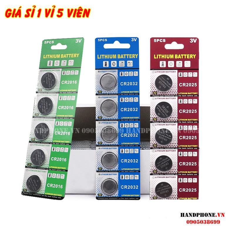 1 vỉ 5 viên pin cúc Lithium 3V CR2032, CR2025, CR2016 pin nút cho Cmos, điều khiển, chìa khóa ô tô, xe máy, cửa cuốn