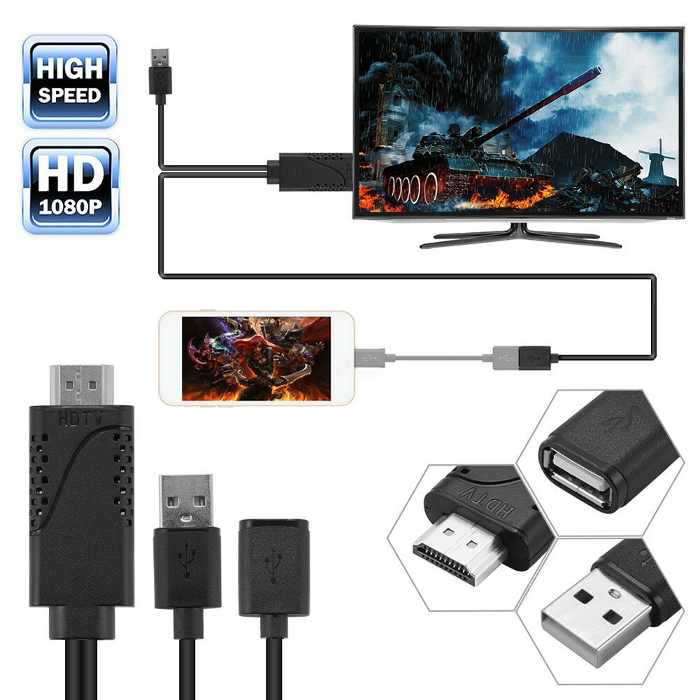 USB Female to HDMI Male HDTV Adapter Cable For iPhone8/ 7/ 7plus/ 6s/ 6 plus Giá chỉ 170.039₫