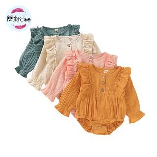 Áo liền quần tay dài màu trơn Mikrdoo bằng cotton cho bé gái 0-18 tháng