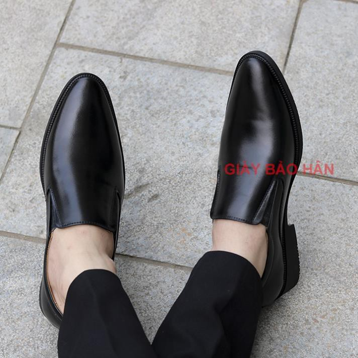 [DA XỊN - SẴN] Giày Tây Nam Không Dây Bảo Hân, Mã CS055, Màu Nâu- Đen.