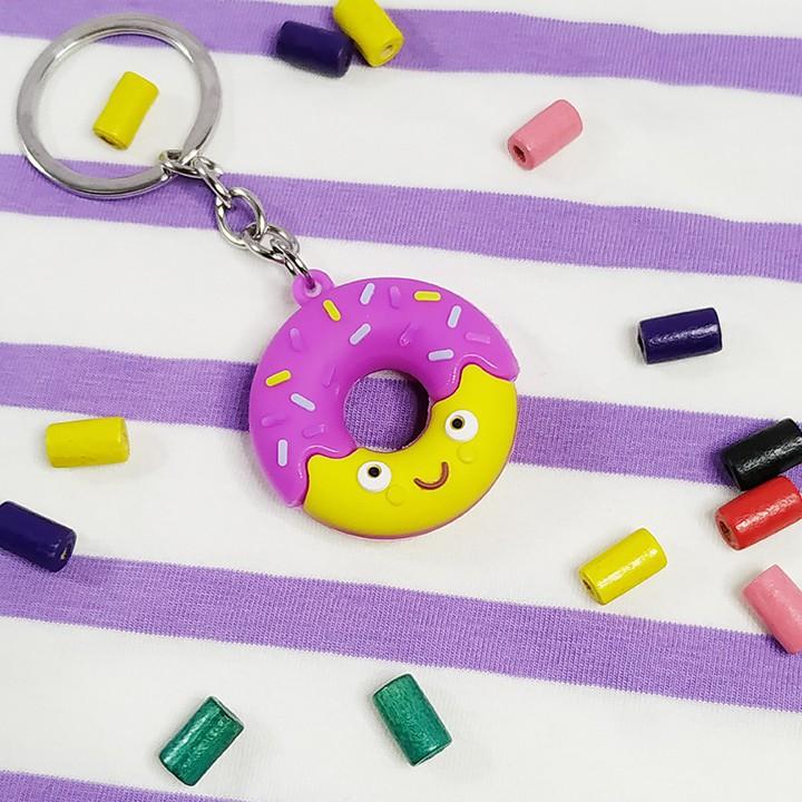 Móc khóa hình bánh donut  FREESHIP  Có video thật  Móc khóa hình bánh donut độc đáo nhiều màu giá rẻ - Phát Huy Hoàng