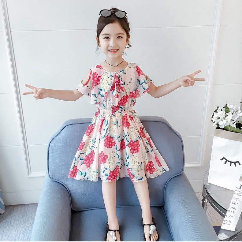 Mặc gì đẹp: Tung bay với Váy đầm xoè voan lụa hoa nhiều màu dành cho bé gái mặc hè (N00158)