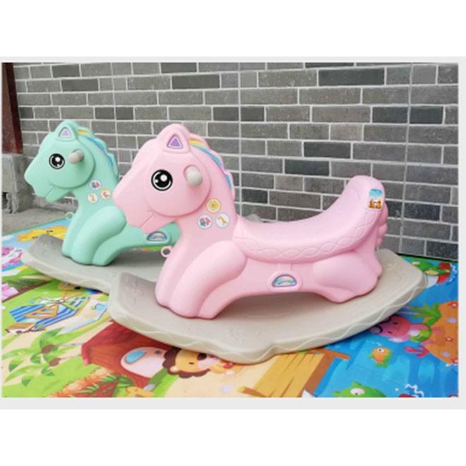 Ngựa bập bênh cho bé yêu - màu hồng