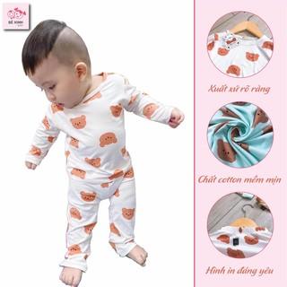 Bộ đồ ngủ dài tay cho bé trai bé gái gấu nâu [hàng xịn đẹp] bộ quần áo thu đông tay dài cho bé xịn xò